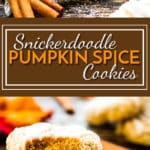 Snickerdoodle Pumpkin Cookies   A super soft, gluten free pumpkin spice cookie that is rolled in cinnamon sugar and topped with a sweet glaze!