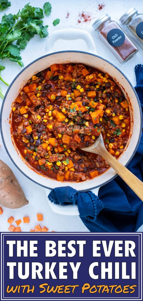 Make the best turkey chili in a dutch oven pot.
