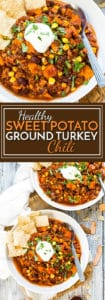Healthy Sweet Potato Ground Turkey Chili | A healthy and quick gluten free dinner recipe that is full of ground turkey, black beans, corn, sweet potatoes and lots of chili flavor!