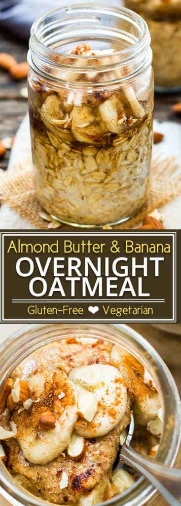 Almond Butter Banana Overnight Oats make a quick and easy gluten-free breakfast recipe for your busy mornings.  Simply mix up gluten free oats, add your favorite nut butter (almond or peanut butter), a bit of brown sugar and a banana! This overnight oatmeal recipe is kid-friendly as is a great breakfast recipe for the school year!