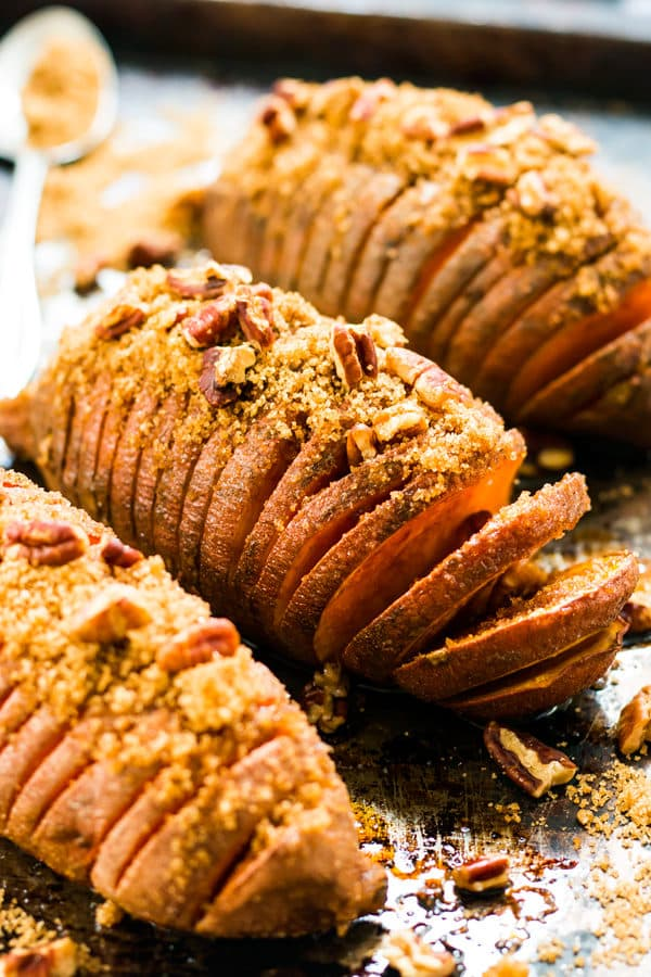 Hasselback Sweet Potatoes with Brown Sugar & Pecans