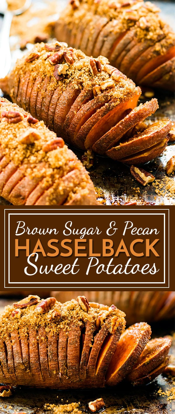 These Hasselback Sweet Potatoes with Brown Sugar & Pecans make a greatgluten-free and vegetarian side dish for Thanksgiving, Christmas orany other holiday meal!  Make this hasselback sweet potato recipe instead of your traditional sweet potato casserole recipe for a healthy alternative!