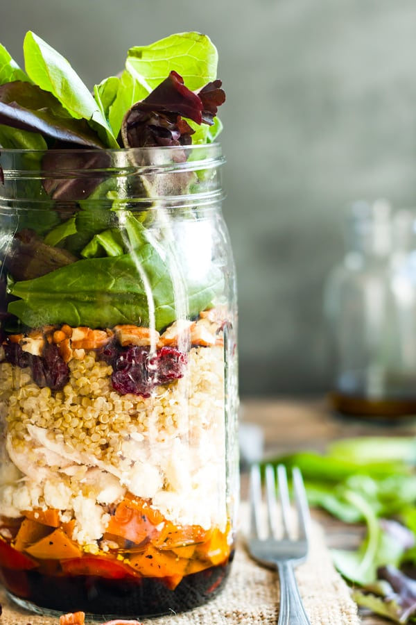 This recipe for Leftover Turkey Salad in a Jar gives you a healthy way to use up all of that leftover turkey or chicken meat after a big meal!