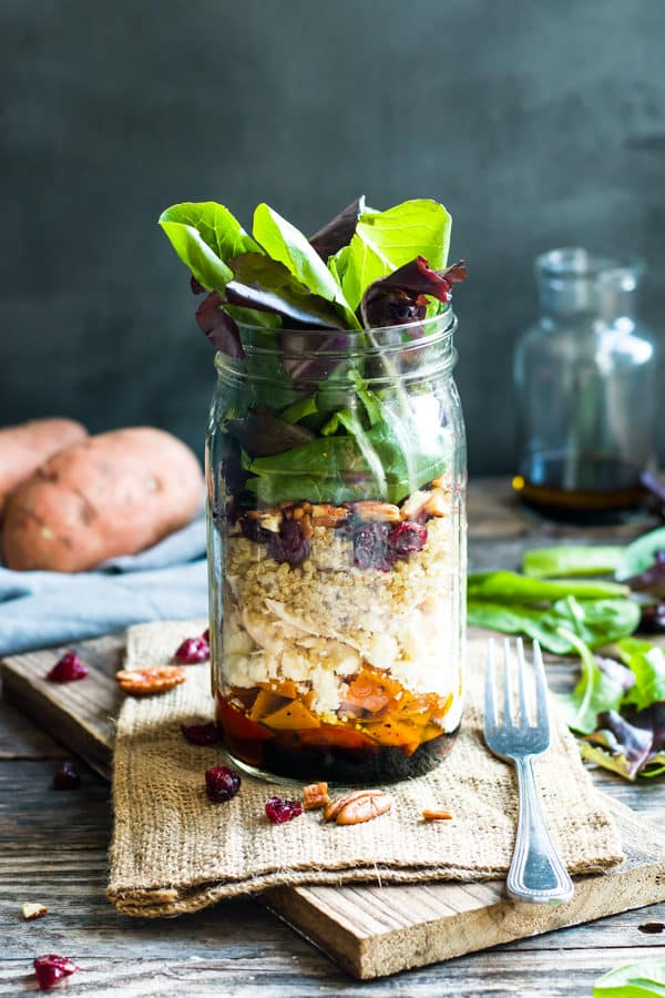 Leftover Turkey Salad in a Jar with Sweet Potatoes