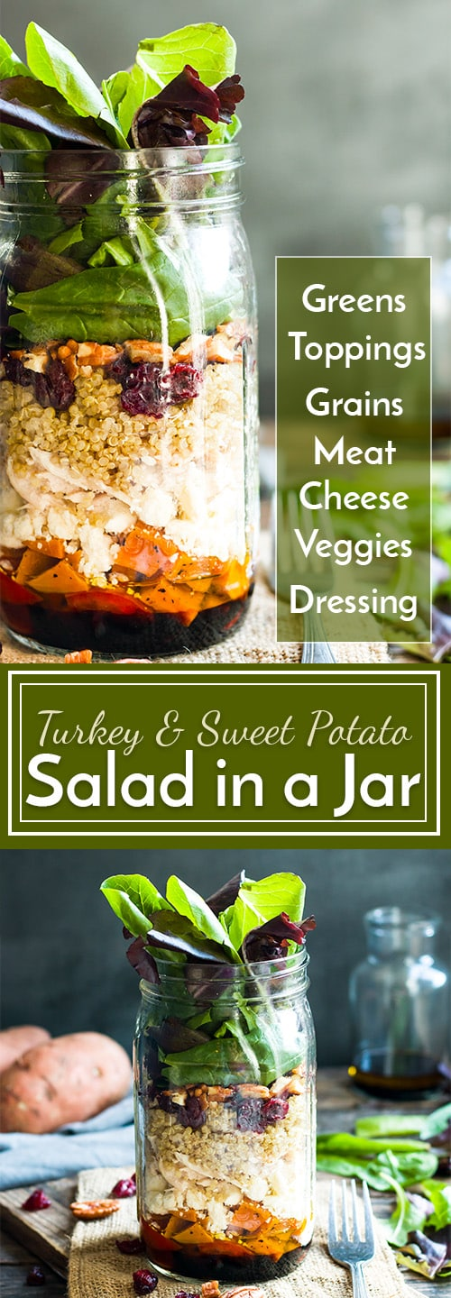 This recipe for Leftover Turkey Salad in a Jar gives you a quick and healthy way to use up all of that leftover turkey or chicken meat after a big meal!