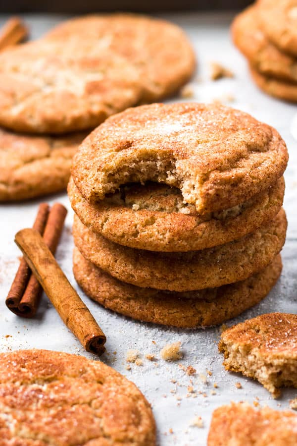 A pile of cookies using a snickerdoodle recipe for a gluten-free dessert.