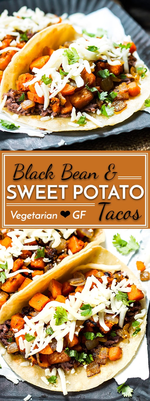 These Healthy Black Bean & Sweet Potato Tacos are gluten-free and vegetarian. They make a wonderful breakfast, lunch or dinner taco recipe that is ready in under 30 minutes!