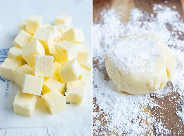 Cold, cubed butter and powdered sugar for rolling out sugar cookies.