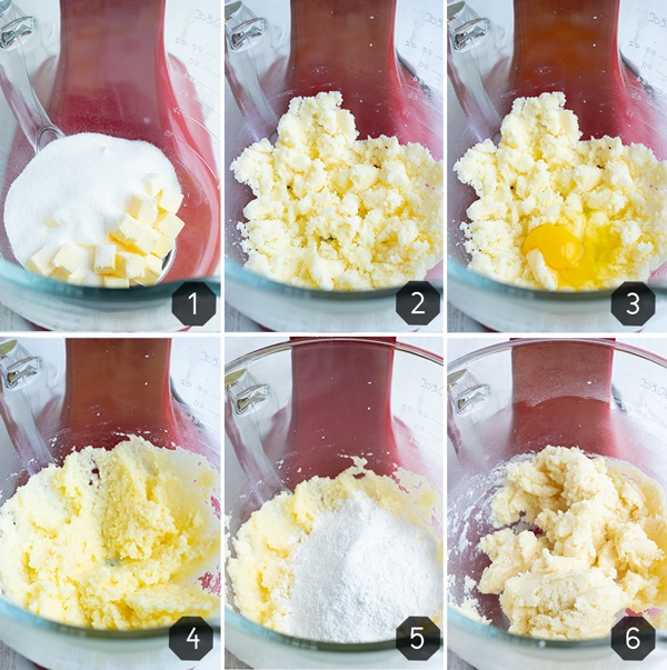 Six images showing how to make cut out sugar cookies that don't spread while baking.