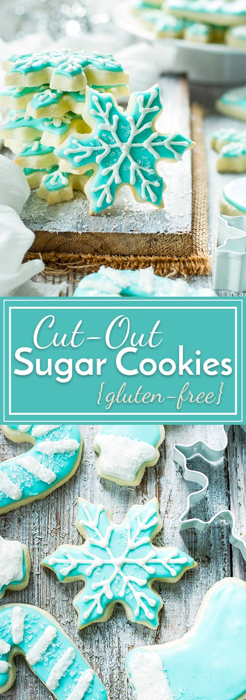 These gluten-free cut-out sugar cookies are now a go-to Christmas cookie recipe in our house!! A few simple tricks make the sugar cookie dough super easy to work with and the gluten-free sugar cookies don't spread while baking!
