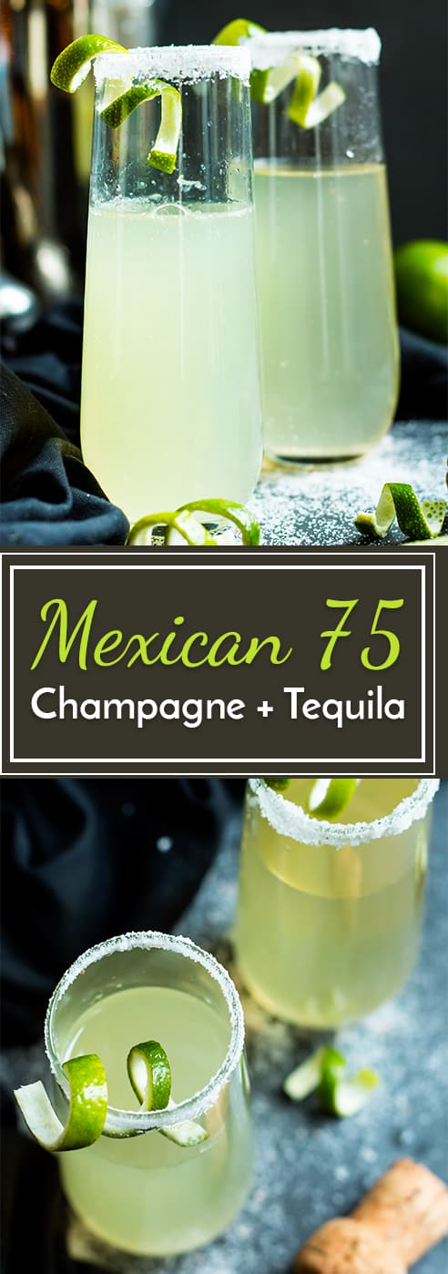 This Mexican 75 is a tequila and champagne cocktail that is a twist on the classic French 75. It makes an epic cocktail for times of celebration!
