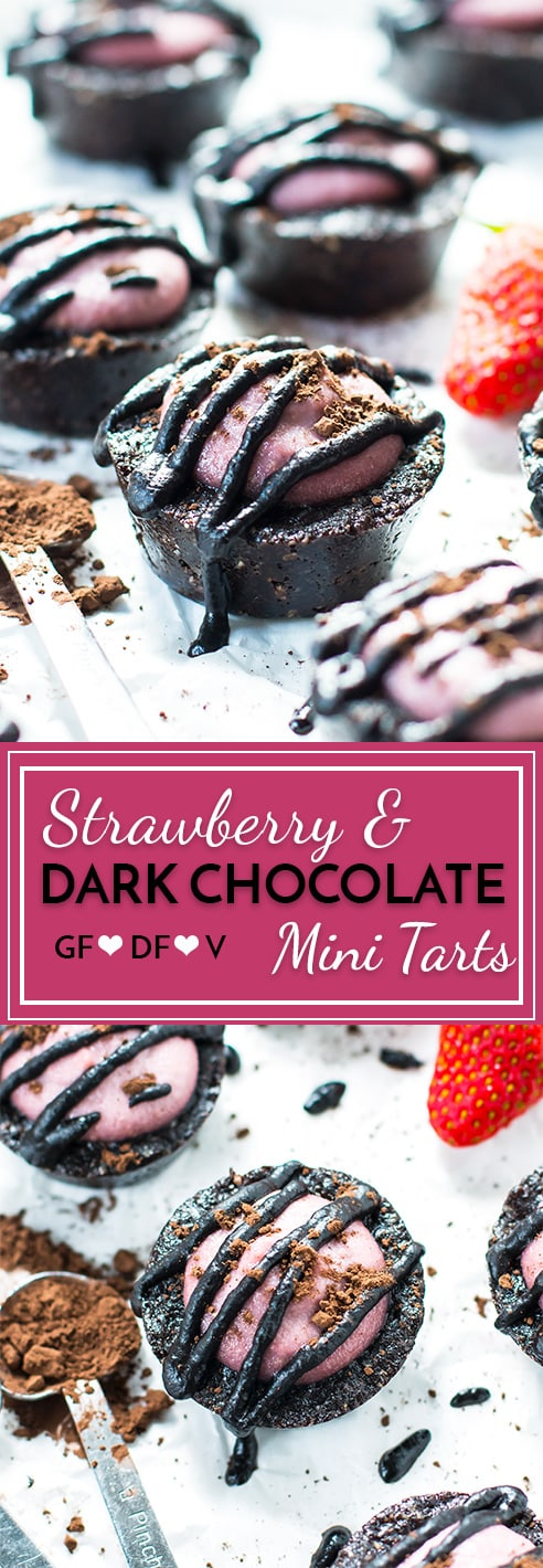 Dark chocolate strawberry tarts have the perfect combination of fruity strawberries and rich dark chocolate. These chocolate strawberry tarts are gluten-free, vegan, and dairy-free -- making them a super healthy chocolate dessert!