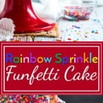 Funfetti Cake with Rainbow Sprinkles | Funfetti cake is loaded with rainbow sprinkles on the inside and outside for the ultimate gluten-free vanilla birthday cake!!
