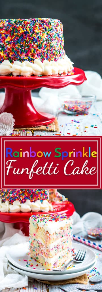 Funfetti Cake with Rainbow Sprinkles   Funfetti cake is loaded with rainbow sprinkles on the inside and outside for the ultimate gluten-free vanilla birthday cake!!