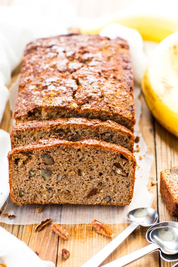 A loaf of Paleo Banana Bread made with coconut flour ready to eat as a healthy snack.