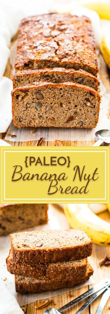 Paleo Banana Bread with Coconut Flour | This Banana Nut Bread is made with coconut flour, almond flour, almond butter, maple syrup and crunchy pecans for the perfect gluten-free and vegetarian breakfast bread, snack or dessert!