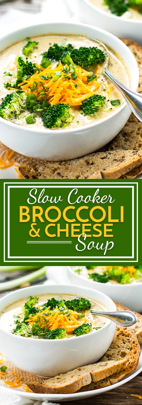 Crock-Pot Broccoli Cheese Soup that is made in a slow cooker!! It makes a great gluten-free and vegetarian soup for those cold, winter nights!