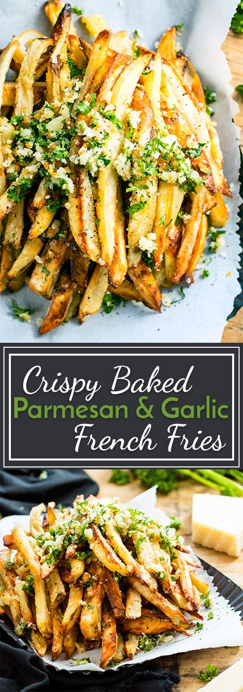 Extra crispy Parmesan garlic fries are baked in the oven, instead of fried, for a healthier french fry recipe! Top this Parmesan fries recipe with a bit of garlic and parsley coating for the ultimate gluten-free side dish recipe.