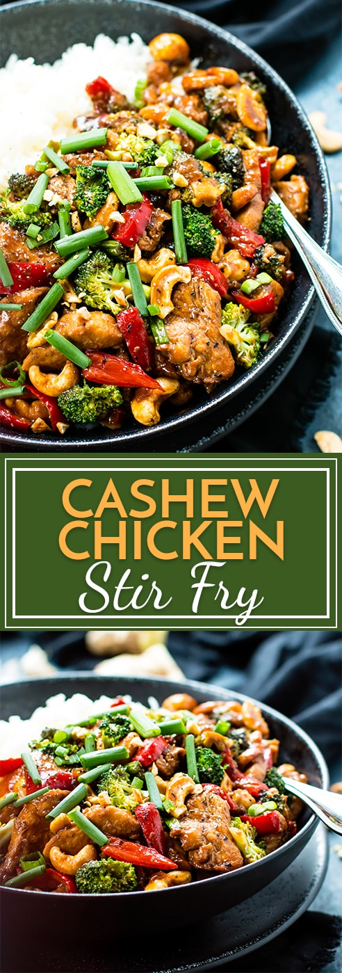 Cashew Chicken Stir-Fry is loaded with healthy veggies, chicken, and a delicious stir-fry sauce. It is gluten-free, low-carb and better than takeout!