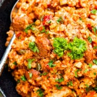 Sausage & Chicken Cajun Jambalaya has all of the flavors of authentic jambalaya. It comes together easily in one pot, is gluten-free and dairy-free for a simple and healthier cajun dinner recipe.
