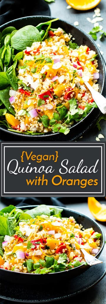 Vegan Quinoa Salad with Oranges & Spinach   It is so quick and simple to make, is full of heart-healthy nutrients, and makes a great vegan, vegetarian, gluten-free and dairy-free lunch or dinner quinoa salad recipe!