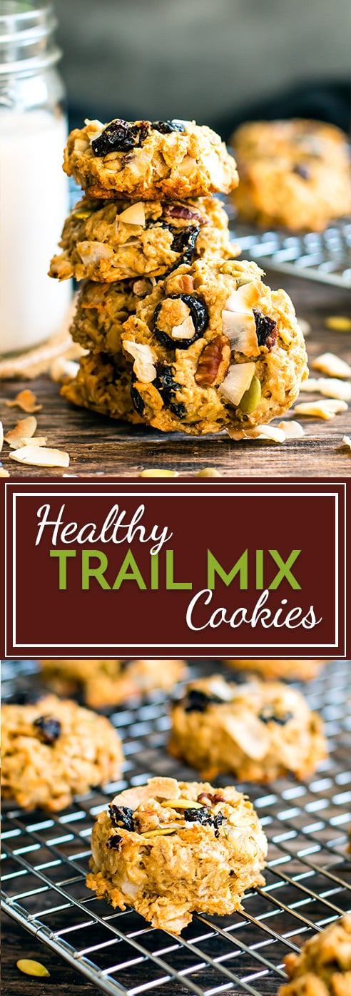 Oatmeal Trail Mix Cookies are gluten-free and healthy enough to eat for breakfast! These trail mix cookies are made with gluten-free oats, coconut oil and maple syrup, making them a great vegetarian and gluten free cookie recipe.