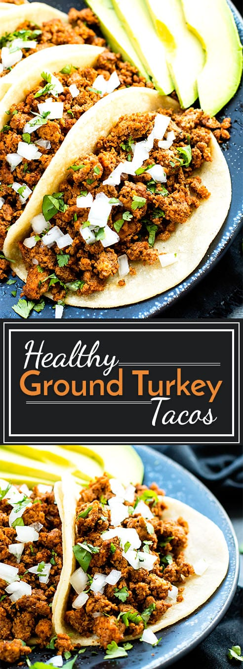 Ground turkey tacos are made with a homemade taco seasoning mix to give you healthy, gluten-free and paleo taco meat! These ground turkey tacos make perfect party food or an easy Mexican dinner recipe!
