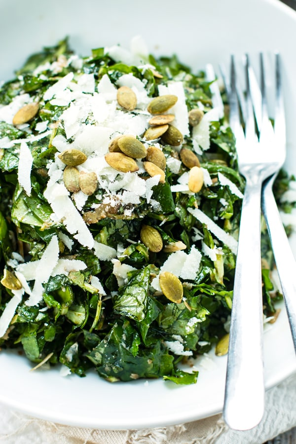 Arugula, spinach, and kale make up this chopped mixed greens salad with balsamic vinaigrette and Parmesan. A quick, healthy and delicious salad recipe!