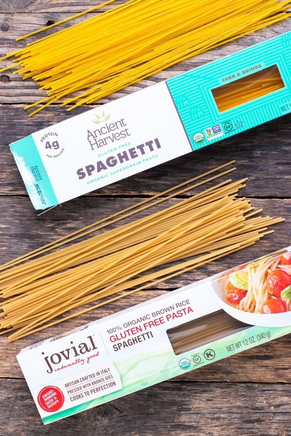 Different types of gluten-free pasta to serve with homemade spaghetti sauce.