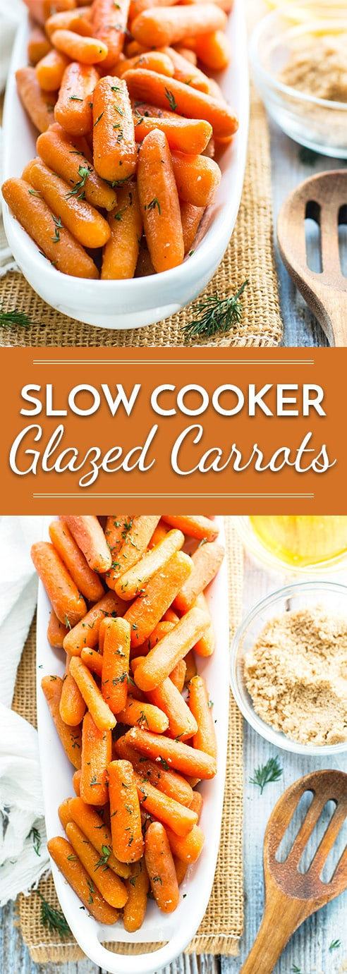 With only six ingredients and five minutes of prep time, you can have these Slow Cooker Honey Glazed Carrots as a super easy and healthy gluten-free side dish! They make an excellent Easter or Thanksgiving side dish recipe!