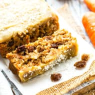 A loaf of an easy carrot cake recipe with raisins for an Easter snack.