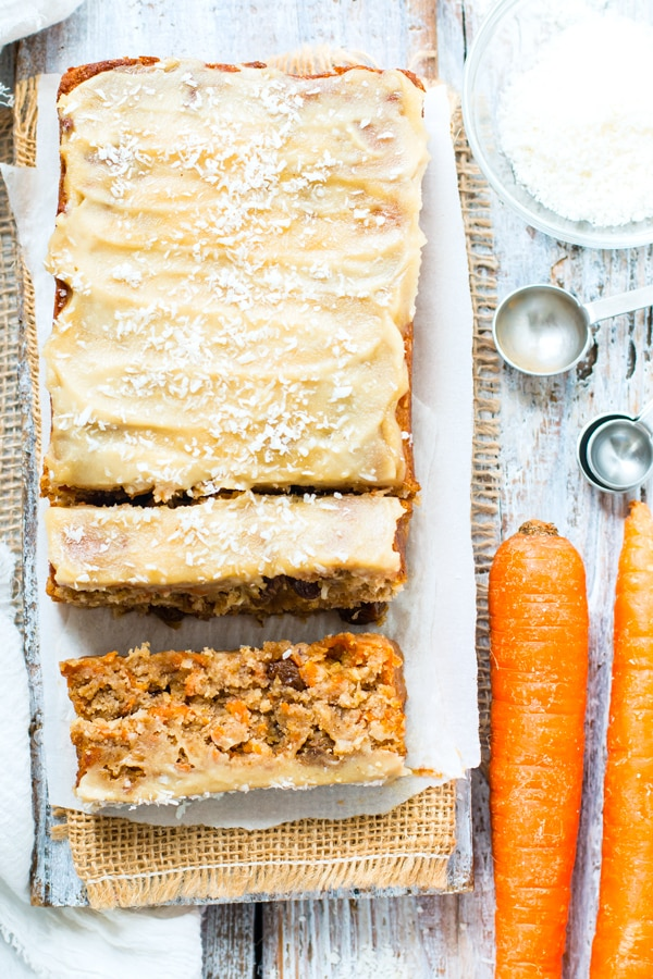 A gluten-free carrot cake loaf with a vegan cream cheese frosting for a Spring treat.