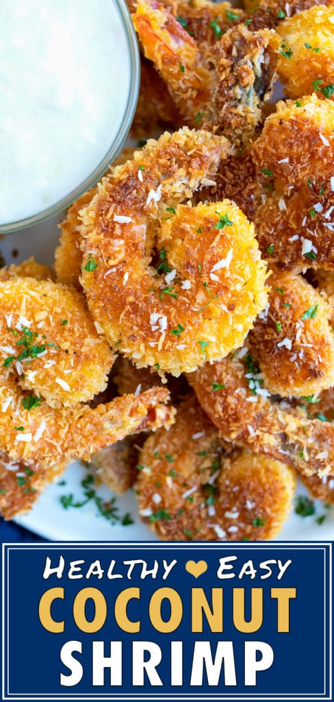 Golden shrimp that are covered in a shredded coconut and bread crumb coating.