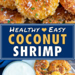 A platter full of healthy coconut fried shrimp with a creamy yogurt dipping suace.