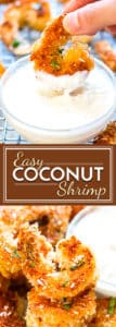 These easy coconut shrimp are made healthy! They are pan-fried in coconut oil and then dipped in a coconut and pineapple dipping sauce made from Greek yogurt!