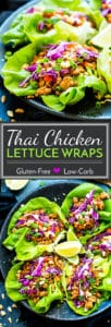 Ground Chicken Thai Lettuce Wraps are a healthy, gluten-free and low-carb lunch or dinner recipe. These chicken lettuce wraps are full of crunchy peanuts, carrots, and tons of Thai flavor!