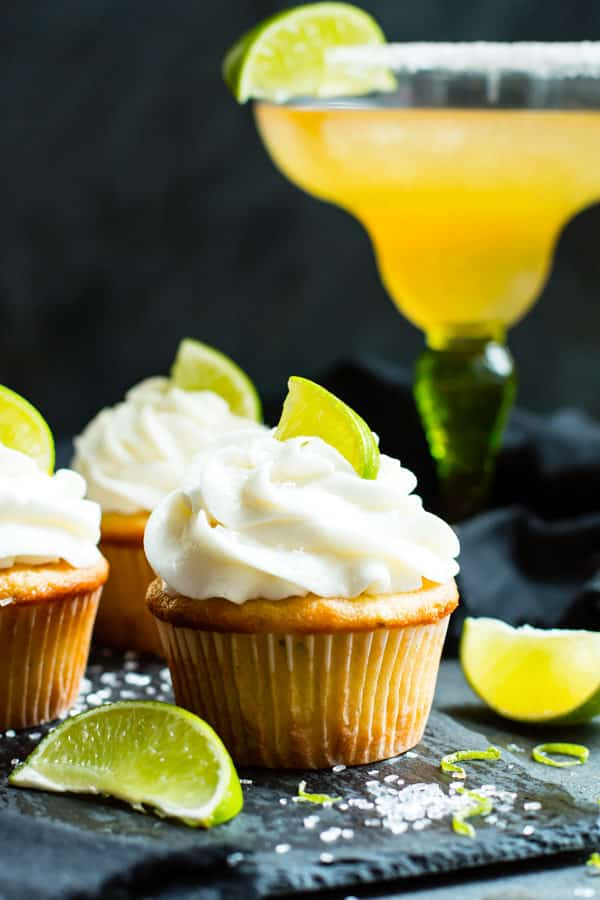 A single Margarita Cupcake with Tequila Lime Frosting for a healthy dessert.
