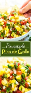 Pineapple Pico de Gallo is a fresh homemade salsa full of tomatoes, sweet onions, pineapple, jalapenos, and cilantro. It makes a wonderful topping for chicken or tacos and can be eaten as a healthy dip!