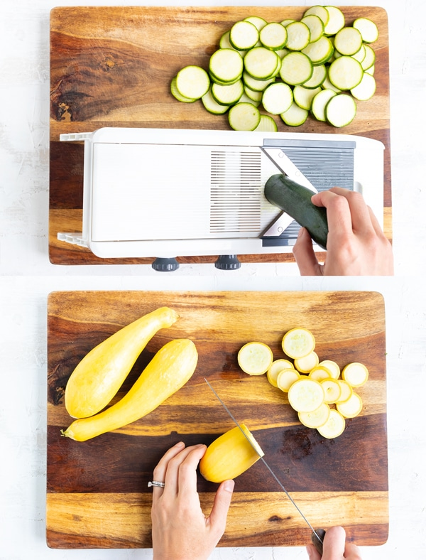 A hand using a mandolin to thinly slice zucchini squash and another image of a person thinly slicing yellow summer squash for a squash casserole.
