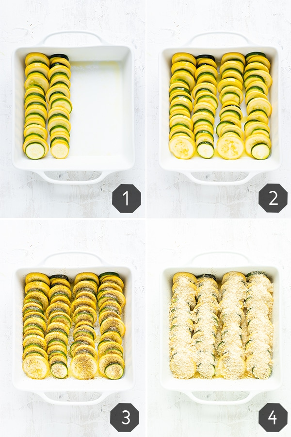 A collage of four photos showing you how to make a squash casserole with yellow summer squash and zucchini squash.