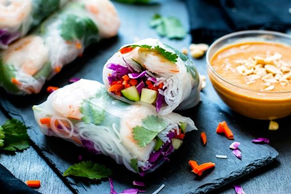 Gluten-free Vietnamese Peanut Sauce with fresh spring rolls for a delicious lunch.