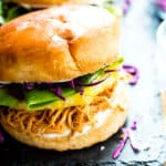 A Hawaiian Chicken Sandwich recipe made in the slow cooker for dinner.