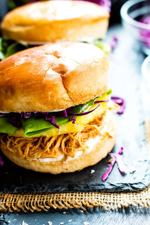 Slow Cooker Hawaiian Chicken Sandwiches