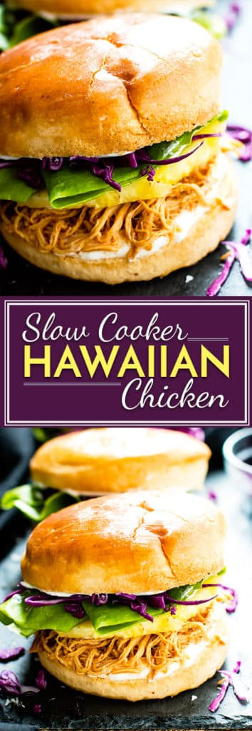 Whip up a batch of these slow cooker Hawaiian chicken sandwiches for your next potluck or get-together! These pineapple chicken sandwiches are a super easy, healthy, and gluten-free lunch or dinner recipe the whole family will love!