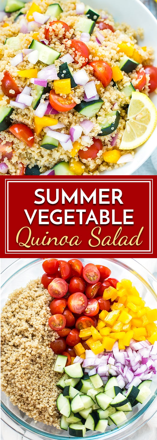Summer Vegetable Quinoa Salad is full of nutritious veggies and then topped with a homemade lemon vinaigrette.  It is a healthy dish to bring to potlucks or summer picnics!