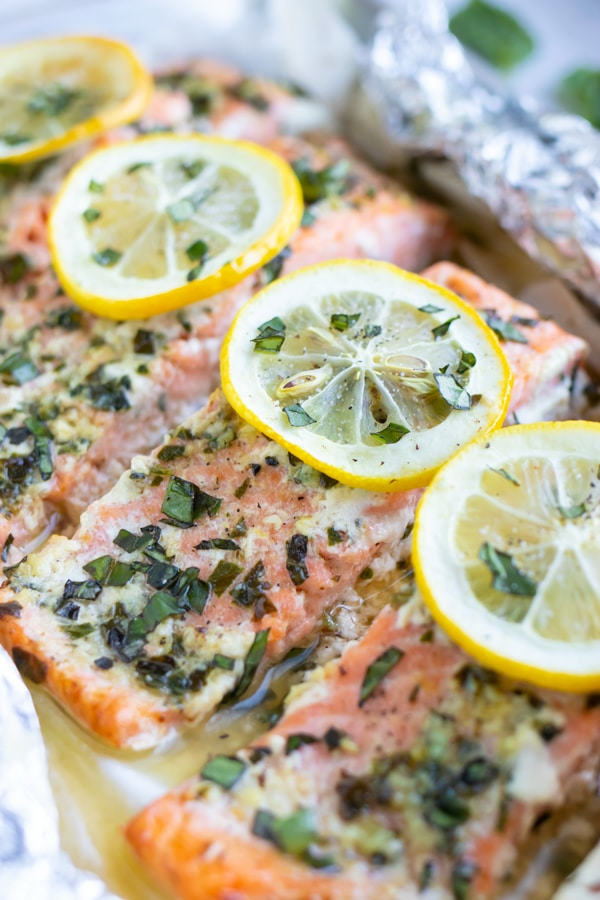 Basil Lemon Baked Salmon in Foil and parchment paper packets.