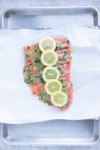 Lemon slices on top of fish on a baking sheet.