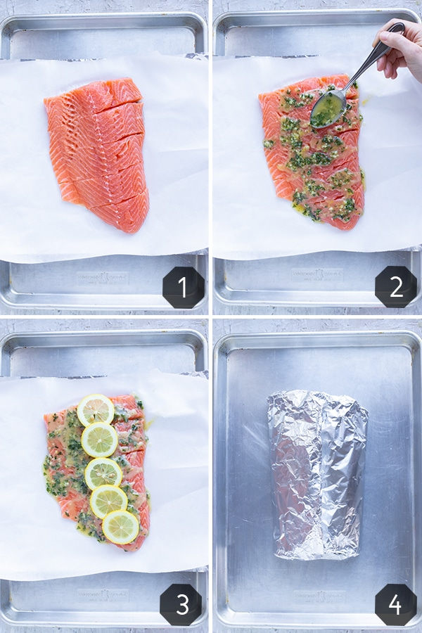 Step by step photos showing how to make a basil lemon salmon recipe that is wrapped in foil and baked in the oven.