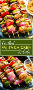 Grilled Fajita Chicken Kabobs with Vegetables are a healthy gluten-free, Paleo and low-carb appetizer or dinner recipe that can be served up over rice or eaten in tacos!