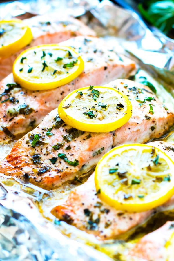 Gluten-free lemon salmon recipe on tin foil for a healthy dinner.